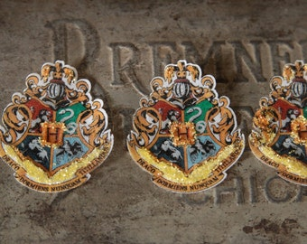 12 EDIBLE Hogwarts School of Witchcraft and Wizardry School Crest  Harry Potter party cupcake toppers