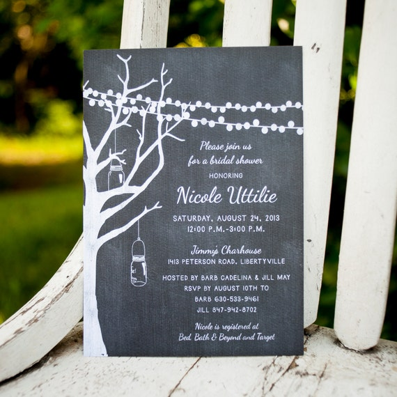 Rustic Bridal Shower Invite, bridal shower invitation - The Natalie - strung lights, mason jars, mason jars, chalk, couples shower, unique