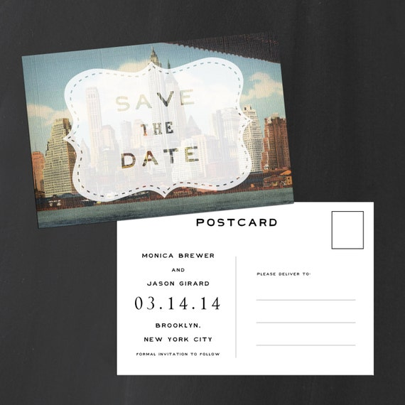 New York City Save the Date, Save the Date card - The Skyline View - rustic save the date, vintage, postcard, New York City, NYC, eco
