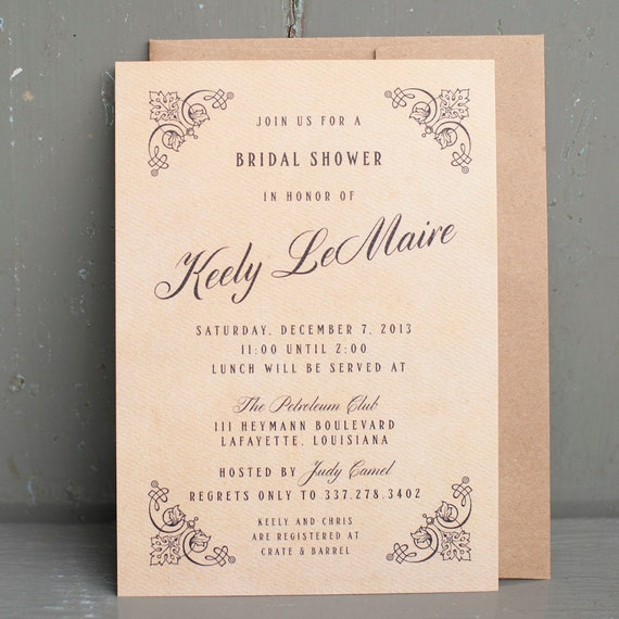 Rustic Bridal Shower Invite, bridal shower invitation  - The Roaring 20's - Gatsby, 20's inspired, Victorian, antique, rustic, vintage