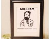 Stanley Milgram print, Milgram screenprint, psychology art, unframed psychology print