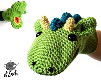 Dragon Puppet crochet pdf pattern INSTANT DOWNLOAD