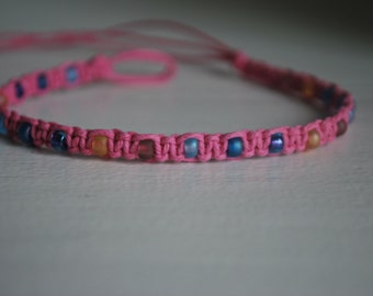 MultiColored Glass beads on Pink Hemp Anklet