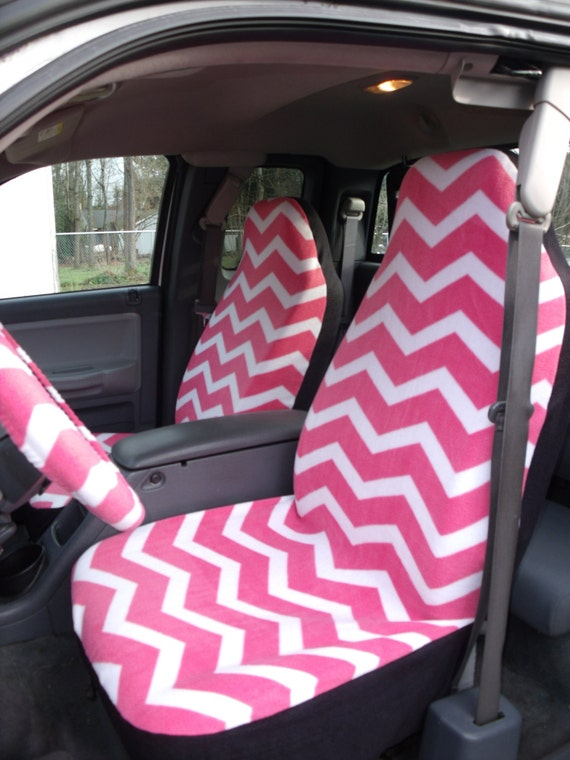 1 Set Of Pink /White Chevron Seat  Covers and Steeling Wheel Cover Custom Made