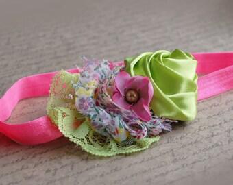 Green neon pink Baby headband, vintage headband, shabby chic roses headband, headband