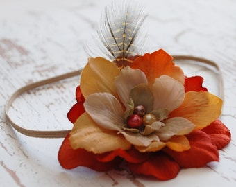 SALE. feather and flower,orange and beige vintage headband, shabby chic headband,girls  headband