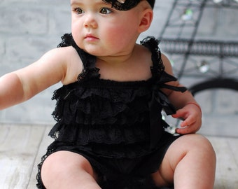 Baby girl lace outfit, 2 pieces Black, ivory and Red  Petti Romper Set. Lace Petti Romper , headband and romper, Baby Girl Photo Prop