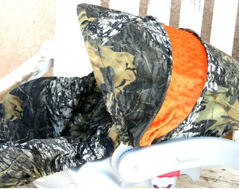 Mossy Oak Camo with orange minky Car seat cover and hood cover