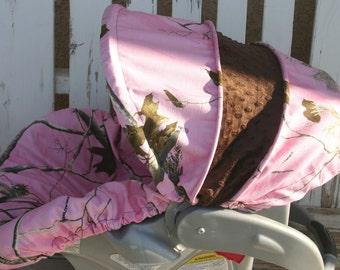 Pink Realtree Camo with brown minky Car seat cover and hood cover