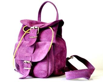 Leather Backpack, Leather Bag, Suede Deep Purple Rucksack, Women Satchel