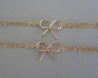 7 Tie The Knot Bracelets. GOLD Filled or ROSE Gold. 7 Handmade Bow Bracelets. 7 Bridesmaid Bracelets. Tie The Knot Jewelry. 7 Bracelet Set