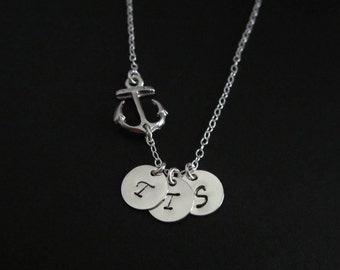 Silver Anchor Necklace. 1.2.3.4.5.6 Initial Necklace. Silver Charms. Best Friends. Sister Necklace. Friendship Jewelry. Encouragement Gift