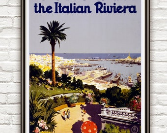Vintage Poster of Genoa and the Italian Riviera 1931Tourism poster travel