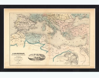 Old Map of Mediterranean Sea 1862
