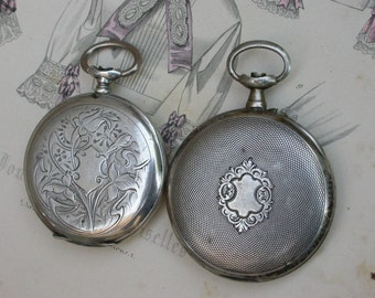Lot of 2pcs antique 19th century  watches  Antique large  Pocket Watch man's  watch sterling silver stamped ornate engraved flower monogram
