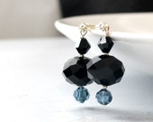 Black crystal earrings, Jet black bead earrings, Beaded dangle earrings, Two toned earrings, Simple earrings, Blue and black earrings