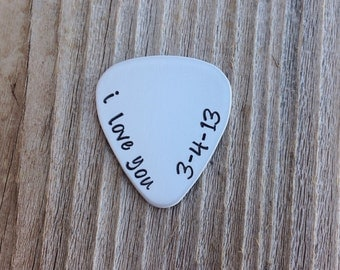 Guitar pick handstamped  gift for him or her  I love you with date hand stamped