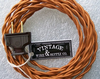 COPPER - Cloth Covered Wire - Lamp Cord - 8-ft Cordset - Vintage Style Lamp Wire - Industrial Light - Lamp - Minimalist  - Edison Lamp