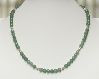 short green necklace / pearl necklace / green choker necklace / june birthstone jewelry / aventurine necklace / pearl gemstone jewelry #1431