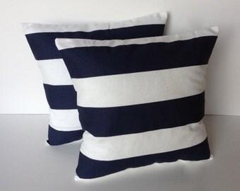 Two navy Blue white striped pillow cover, cushion, decorative throw pillow, decorative pillow, accent pillow, 18x18 pillow, pillow case