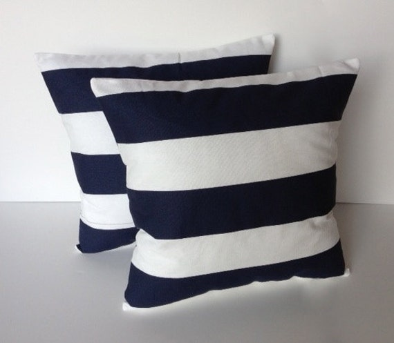 Navy And White Striped Throw Pillow : TWO navy Blue white striped pillow cover by ThatDutchGirlPillows