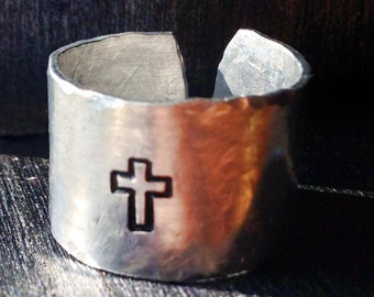 Personalized Ring, Engraved ring, Peace, Cross, Christian, Gypsy, Hippie, Adjustable Finger cuff, EMT, Paramedic, Medic