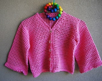 Pink crocheted cardigan