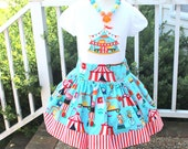 circus outfit circus set circus skirt set circus dress circus applique top embroidered shirt with skirt girl birthday outfit michael miller