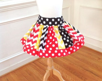 Disney Mickey Minnie skirt for girls Mickey Mosue skirt Minnie Mouse Minnie Mickey birthday skirt Red yellow black Size 2t 3t 4t 5 6 8 10 12