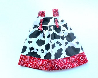 cowgirl dress cowgirls outfit girls cowboy knot dress cowgirl birthday outfit for girls toddler cowgirl outfit cow print red bandana fabric