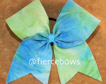 Green and Blue Pastel Cheer Bow