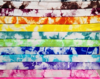 12 Yards Hand Dyed Tie Dye Fold Over Elastic  - Hair Accessory Supplies