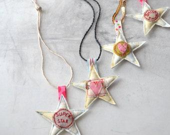Designer room children fabric wall decoration mobile / medallion star