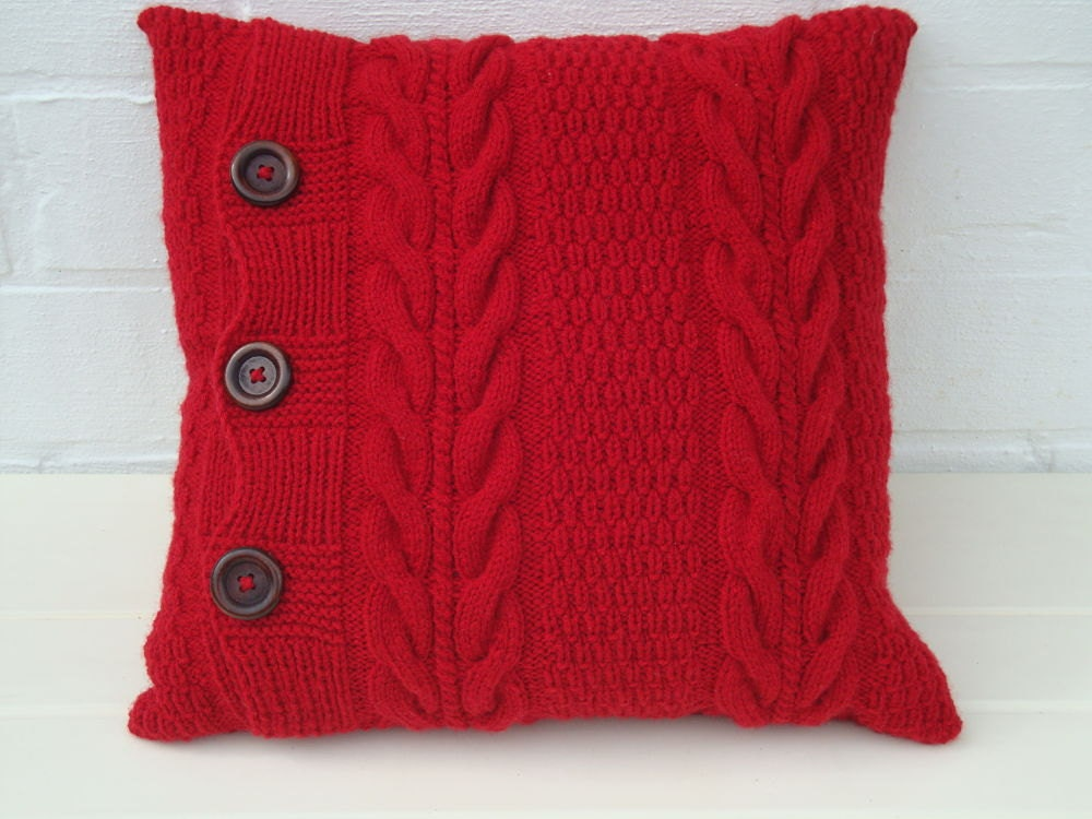 Knitting Pillows : Red knitted pillow knit cover chunky sofa throw