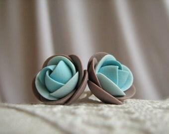 Polymer clay earrings - Grey-brown and light blue rose flower stud earrings
