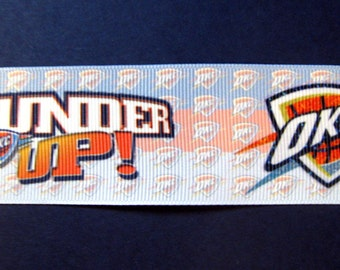 "OKC Thunder 1.5"" Grosgrain 'Thunder Up' ' Craft Ribbon - 3-yard Length"