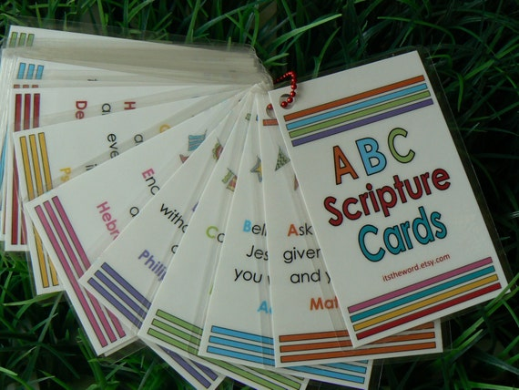 ABC Scripture Cards Bible Memory Verses Christian Gift