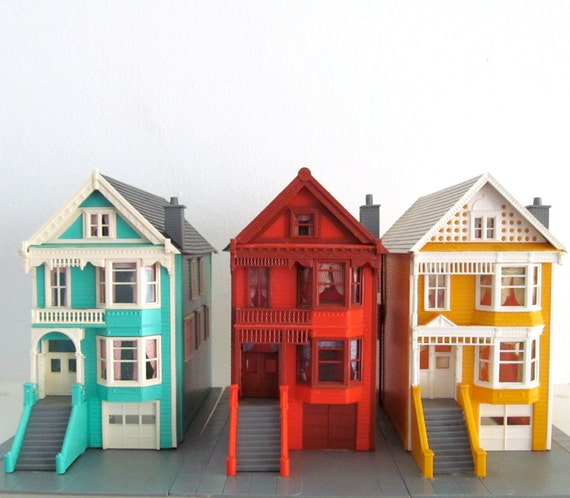 Miniature Row Houses Colorful Painted Lady San Francisco