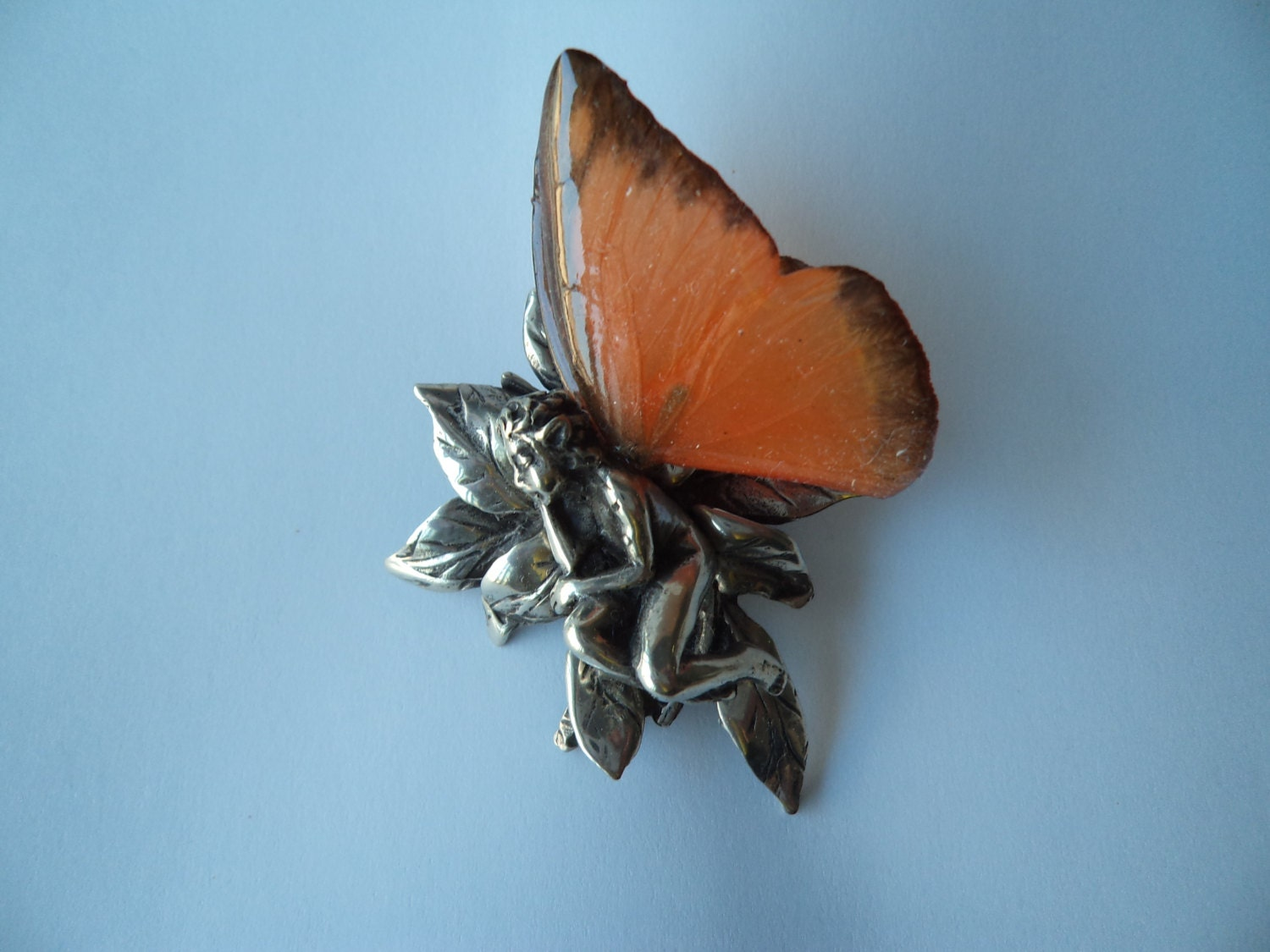 Pewter Fairy Figurine With Real Butterfly Wings Sleeping On A