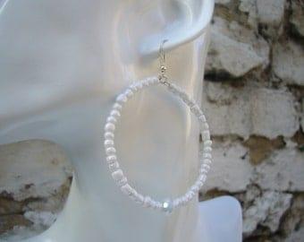 White Beaded Hoop Earrings, Black Earrings, White Hoop Earrings, Hoop Earrings, Beaded Earrings.