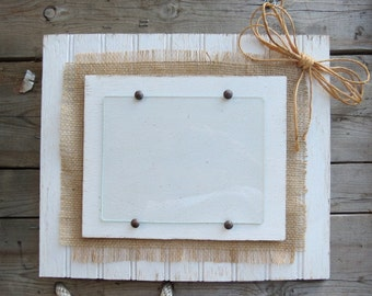 Beadboard Photo Frame with burlap accents and natural twine bow/shabby chic wedding photo frame/Farmhouse style photo frame