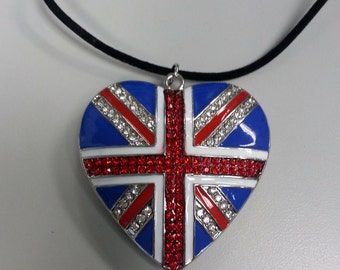 large Union Jack Heart necklace