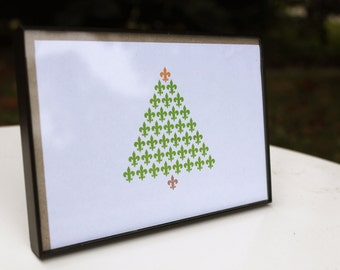 Fleur de Lis Christmas Tree Holiday Card