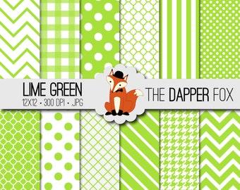 Lime Green Digital Paper Pack - INSTANT DOWNLOAD - 12x12 - chevron, stripes, dots, quatrefoil