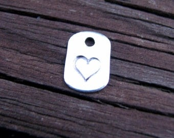 Stamped Dog Tag Charm- Tiny- Mini- Handstamped- Tag- Paw Print- Heart- Sterling- Jewelry Supply- Letters- Design- Symbol- Stamped Initial