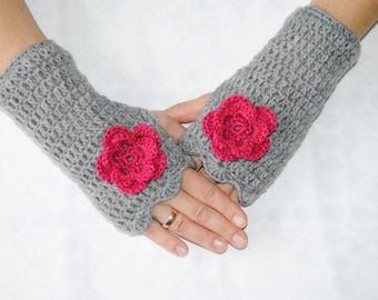 Fingerless gloves flower/Gray fingerless/crochet fingerless gloves/womens fingerless/winter wool fingerless/arm warmers/handmade fingerless