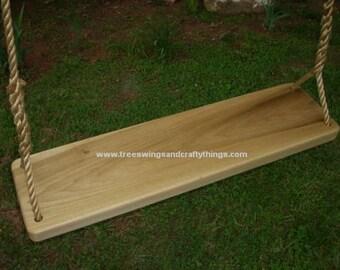 """Wood Tree Swing (XL Poplar)- 35"""" L x 9 1/2"""" W x 1 3/4"""" thickness"""