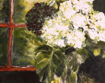 Floral Acrylic Painting Original Art on Canvas Still Life with White Flowers in a Glass Vase, Fine Art Painting by the Artist