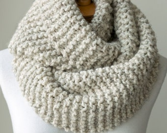 Knit scarf, chunky knitted infinity scarf in Pale Brown or Beige, circle scar...