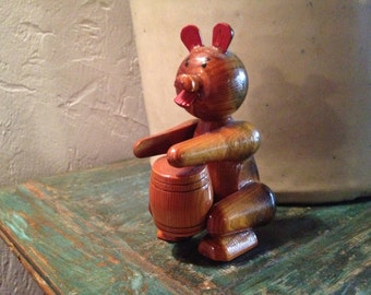 Wooden carved Bear Playing a drum toy